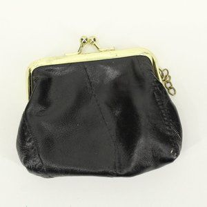 Vintage Bags - Black Leather Kiss Lock Coin Purse